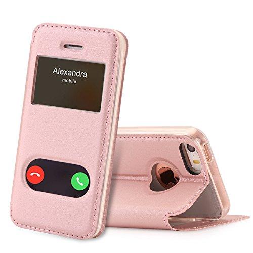 FYY iPhone se Funda, iPhone 5S, iPhone 5Móvil, Funda de Piel sintética ecológica de Calidad (Funda Carcasa Case Cover Funda) para Apple iPhone se/5S/5 A-Rosa Gold iPhone SE/5S/5