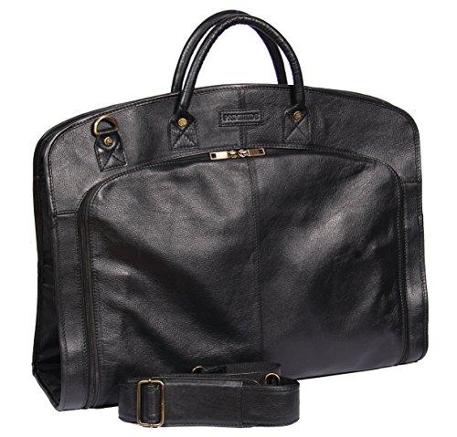 Echten weichen Leder Anzug Tragetasche Schwarz Kleid Abdeckung Reisen Cabin Tasche A173