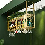 AERVEAL Ceiling Style Bottle Organizer and Stemware Storage Metal Wine Glasses Organizer Hang Cocktail or Champagne Flutes for Kitchen, Bar, Pubs or Restaurants Rack