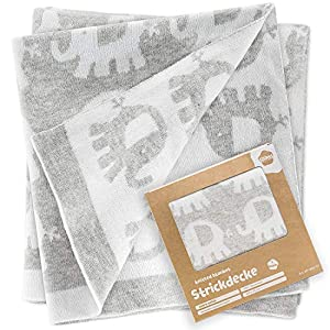 Fillikid Manta Bebe 100x75 cm/Arrullo bebe - Mantita bebe recien nacido para minicuna y cochecito / 100% algodón, suave, reversible, lavar a 30°C - Elefantes Gris