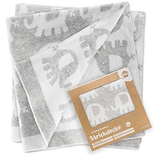 Couverture Bébé en Eléphant 75 x 100 - Couverture Naissance à Tricot Fin pour Landau et Poussette - Couverture Doudou en Coton - très douce, lavable en Machine - Gris