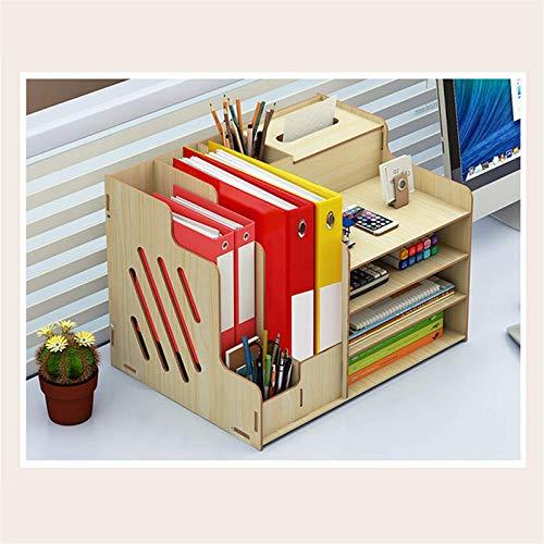 Organizador de escritorio de madera, organizador de escritorio multifuncional, estante de almacenamiento de archivos de papelería para oficina (tamaño: 39 x 29 x 28 cm, color: blanco)