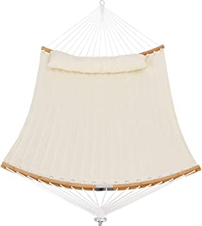 PATIO WATCHER 14 FT Quilted Hammock Folding Curved Bamboo Spreader Bar Portable Hammock for Camping Outdoor Patio Yard White