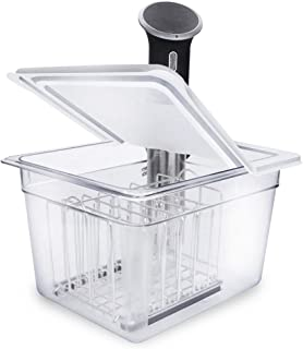 EVERIE Sous Vide Container 12 Qt with Collapsible Hinged Lid and Sous Vide Rack Divider Compatible with Anova 800w or 900w...