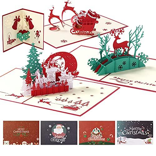 Dadanism 8 Piezas Tarjetas de Felicitación con Sobres, 4 Cartas de Navidad 3D y 4 Cartas con Dibujos Animados para Fiesta de Navidad Invitación, Regalo Ideal para Amigos Niño Familia Novios