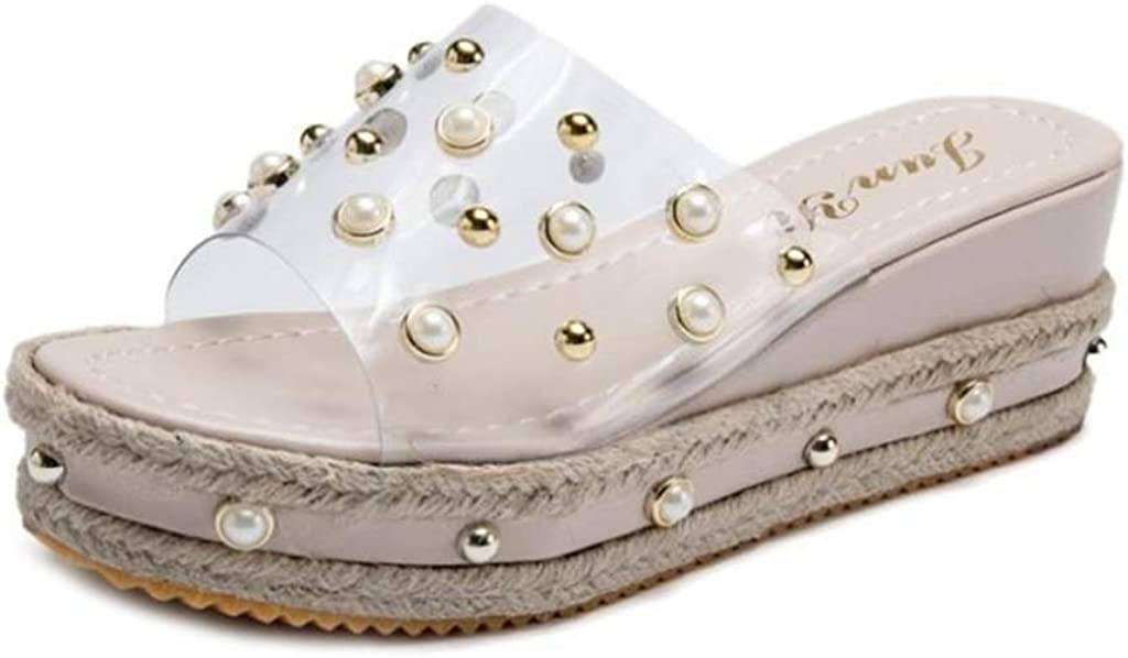 MIOKE Women's Pearls Clear Platform Slide Sandals Espadrille Open Toe Slip On Thick Bottom Wedge Sandal