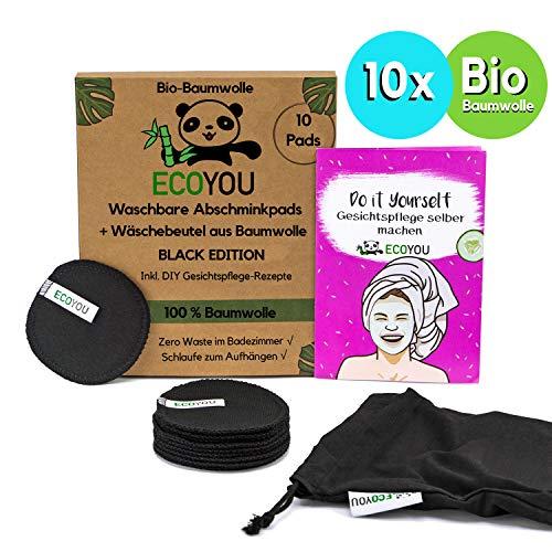 EcoYou® Abschminkpads Waschbar 100% BIO-Baumwolle in Schwarz 10er Set Inkl. DIY-Rezepte & Wäschenetz aus Baumwolle Wattepads Wiederverwendbar Plastikfreie Verpackung - Zero Waste