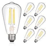 Dimmable Vintage LED Edison Bulbs, 7.5W, Equivalent 60W, 800lm, Bright Daylight White 4000K, ST58 Antique LED Filament Bulbs, E26 Medium Base, Clear Glass, Pack of 6