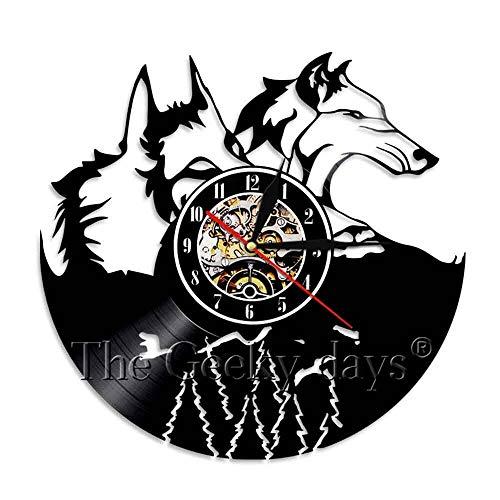 FDGFDG Wolf Silhouette 3D Wanduhr Wolf Anruf Wildtier Tier Vinyl Schallplatte Uhr handgemachte Wohnzimmer Innenwand Kunst Dekoration