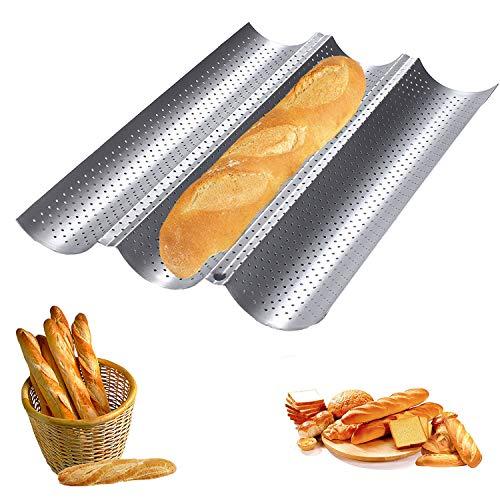 Baguette-Backblech,Baguette Backform Französisches Brot Backblech,Kann 3 Brote Halten Hochwertiger Antihaftbeschichtung Rostfrei schwarz Backblech Für Familie,Bäckerei usw