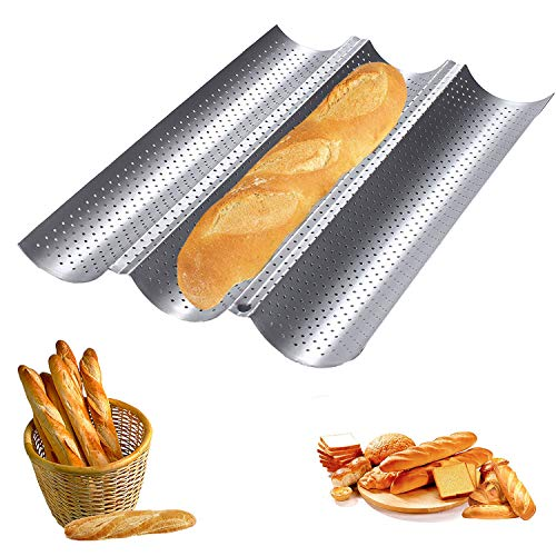 Teglia Baguette,Stampo per Baguette 3 Wave Argento Teglia per il pane al carbonio Perforato Teglia per Baguettes 38, x 24,5 x 2,4 cm per cuocere baguette (A)