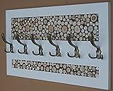KOMA Garderobenleiste 70 x 40cm Landhausstill Vintage 6 Kleiderhaken Holz Scheiben Loft -