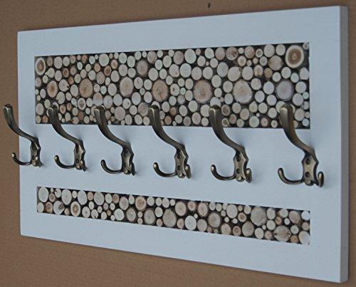KOMA Garderobenleiste 70 x 40cm Landhausstill Vintage 6 Kleiderhaken Holz Scheiben Loft