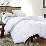 HOMBYS Luxurious Lightweight 120'x120' Oversized King Goose Feather Down Comforter King Size Duvet Insert, 250 Thread Count 100% Hypo-allergenic Cotton Shell Down Proof with 8 Tabs Cooling Comforter