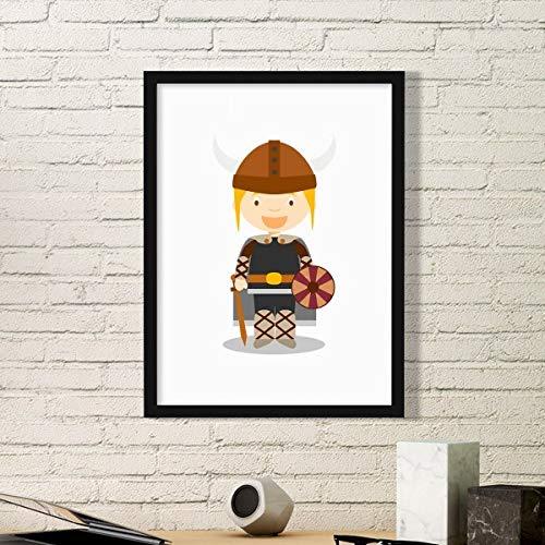DIYthinker Suecia Vikingo Simple Caricatura de Fotos Marco de Cuadros Pinturas de la Pared del hogar de la Etiqueta del Regalo Medio Negro