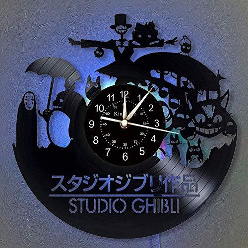Smotly Anime - Totoro Vinyl Wanduhr, LED 7 Farben-Nachttischlampe Retro Wanduhr, Wohnzimmer, Küche, einzigartige Geschenke handgemachte Hauptwanddekor,with Light