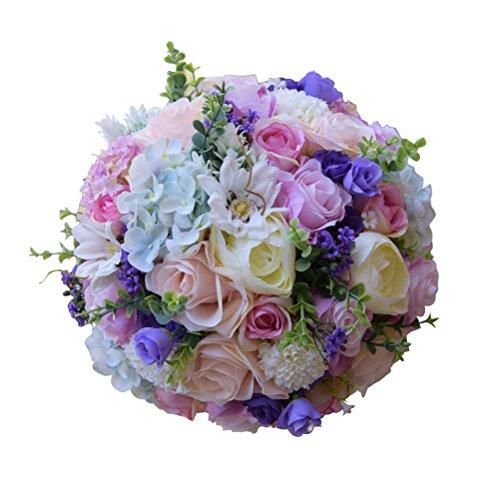BESTOYARD Hochzeit Bouquet Seide Rosen Brautjungfer Bouquet Brautstrauß Künstliche Blumen für Hochzeit