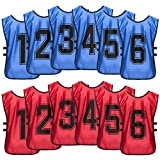 (DB + R, XL, 1-6) 4Gambeta Premium Scrimmage Sport Training Vest - Soccer, Basketball, Football and Hockey Pinnies - Practice and Game Bibs for Kids, Youth and Adults - 12-Pack with Carry Bag
