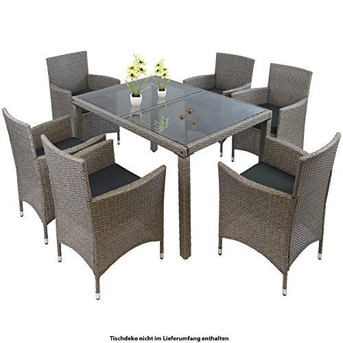 Montafox 13-teilige Polyrattan Essgruppe 6 Personen Tisch Stühle Auflagen Bezüge Sitzgruppe Terasse Esszimmer, Farbe:Nachtschwärmergrau