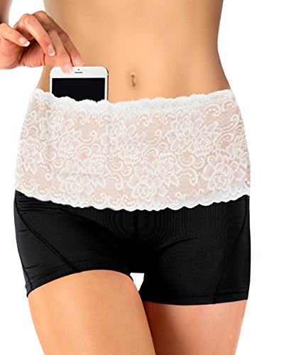 Stashbandz Running, Travel Money Belt & Fanny Pack with Silicone Grip Made of Pretty Lace Hip Travel Wallet, Mini Purse Belt with 4 Wide Pockets Fits All Cell Phones, USA Made