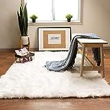 Super Area Rugs Soft Faux Sheepskin Fur Fluffy Area Rug, White, 5' x 7'