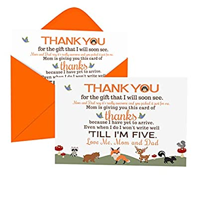 Woodland Baby Shower Thank You Cards with Envelopes (15 Pack) Forest Animal Themed Supplies Orange – Thanks from Boys or Girls – A6 Flat Stationery Printed (4 x 6 inches) Paper Clever Party by