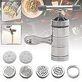 Máquina de Pasta Manual, Acero Inoxidable Prensa de Pasta Manual Máquina de Pasta Herramienta para Tallarines de Espagueti con 5 Módulos y 1 máquina de Pasta