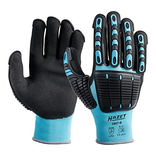 Hazet Mechaniker-Handschuhe (TPR-Protektoren an Fingern und Handrücken, Größe L) 1987-6, Schwarz-Blau, L (2er Pack)