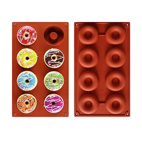 Roponan Donut Backform, 2 Stück, Silikon Backform aus Lebensmittelechtem Silikon mit 8 Mulden, Antihaftbeschichtet, für Kuchen, Kekse, Bagels, Muffins (Rot)