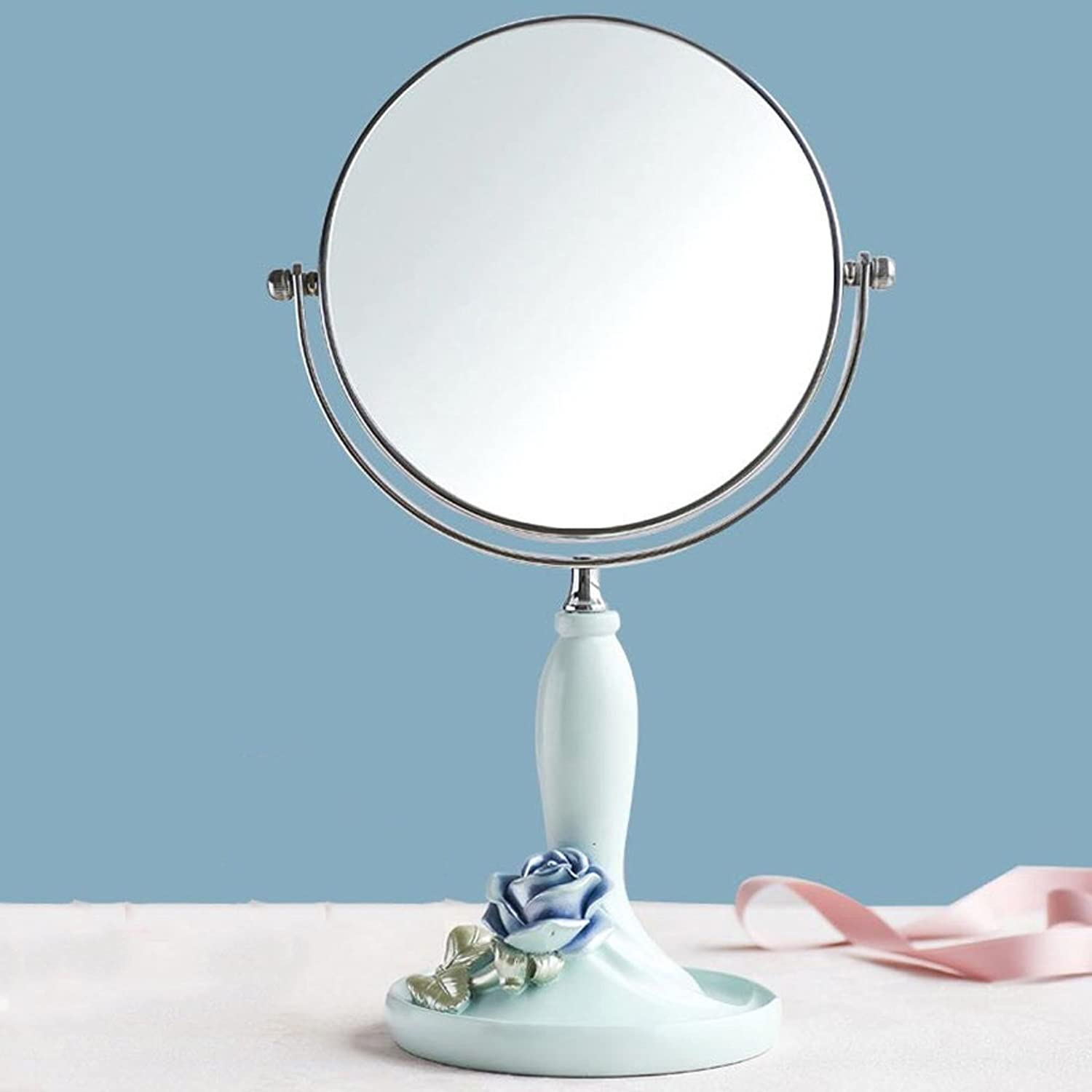 Desktop Mirror Princess Mirror Continental bluee pink Girl Heart Zoom Desktop Home Student Double-Sided Makeup Mirror