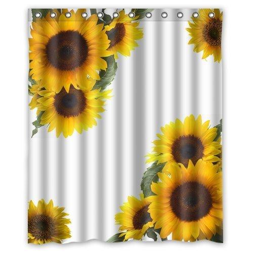 ZHANZZK Sunflowers Waterproof Bathroom Shower Curtain 60x72 Inches