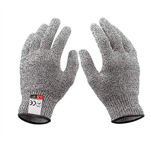 JADE KIT 2 Paar Schnittfeste Handschuhe, Anti-Schnitt Handschuhe der Stufe 5 mit EN 388-Zertifizierten Schutzhandschuhe Schnittschutz für Küche, Baustelle, Mandolinenschneiden & Holzschnitzen, M