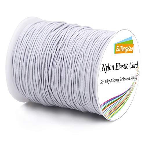 EuTengHao 0.8mm Nylon Elastic Cord for Bracelet Satin Nylon Decorative Cord Nylon Hand Knitting Cord String Beading Thread Bracelet Rope for Necklace Bracelet Jewelry Making (White,110Yards/0.8mm)
