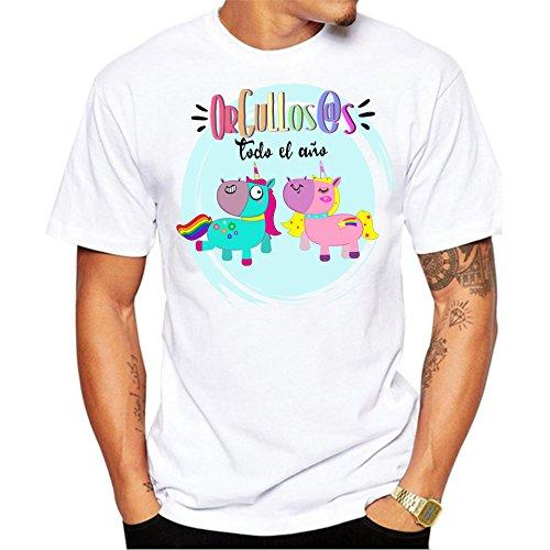 Camiseta Hombre Orgullos@s Todo el año. Camiseta Dia del Orgullo Gay LGTB. Pride Madrid Chueca. Camiseta Entallada para Celebrar el día. (XL)