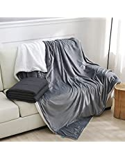 Weighted Idea Weighted Blankets 15lbs with Removable Minky Duvet Cover, 2 Pieces Weighted Blanket Queen Set (Grey/White, 48''x78'', 15 lbs) Sherpa Cover