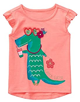 Gymboree Girls  Toddler Short Sleeve Graphic Tee Bright Coral 5T