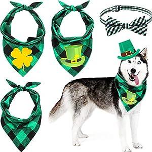 4 Pieces St. Patrick's Day Dog Bandanas Bow Tie Set, Irish Clover Dog Triangle Scarf, Shamrock Reversible Fabric Dog Kerchief, Green Plaid Fashion Accessory for Small Medium Large Size Cat and Dog, Pe