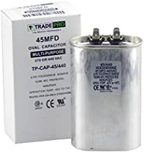 45 mfd Capacitor, Industrial Grade Replacement for Central Air-Conditioners, Heat Pumps, Condenser Fan Motors, and Compressors. Oval Multi-Purpose 370/440 Volt - by Trade Pro