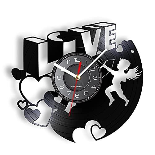 Nfjrrm 3D Amor y corazón Disco de Vinilo Reloj de Pared Amor Arte de la Pared día de San valentín Retro decoración del hogar álbum de Fotos Reloj 30x30 cm