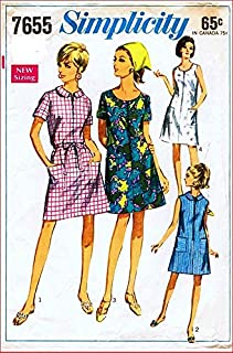 Simplicity 7655 Woman's Half Size Shift Dress with Front Zipper Vintage 60's Sewing Pattern Check Listings for Size