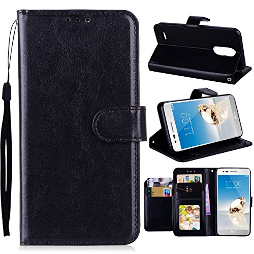 LG Aristo 2 Case, LG Aristo 2/X210/K8 2018/Tribute Dynasty Case, NOKEA [Flip Fit] [Kickstand Feature] Luxury Premium PU Leather Wallet CASE with ID &Credit Card-Slots for LG K8 2018 (Black)