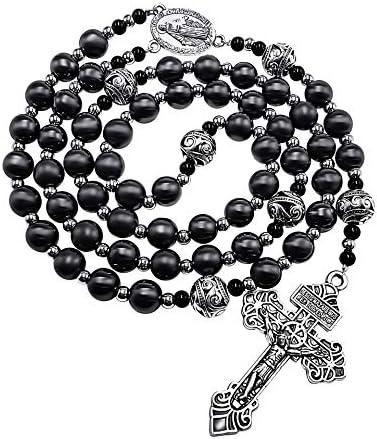 Nazareth Store Pardon Hematite Rosary Black Stone Beads Necklace Metal Beaded Miraculous Medal product image