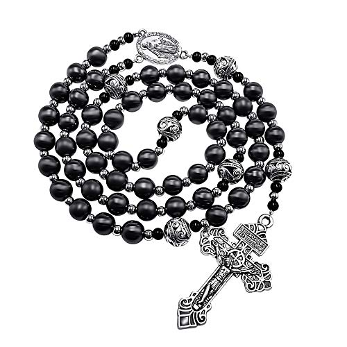Nazareth Store Pardon Hematite Rosary Black Stone Beads Necklace Metal Beaded Miraculous Medal & Our Father Cross Rosary For Men and Womens NS