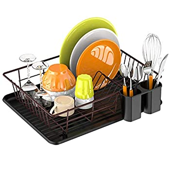 Dish Drying Rack,Ace Teah Small Dish Rack Drainer with Drain Board for Kitchen Counter Bronze