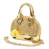 HOOLCHEAN Toddler Girls' Mini Sequins Handbags Random Color Pendant Little Girls Shell Shape Crossbody Bag Princess Purses, Gold