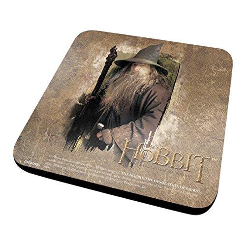 Pyramid International The Hobbit Dos (Gandalf) Officielle Dessous-de-Verre – Housse de Protection en mélamine avec Base en liège, 10 x 10 cm, Bois, Multicolore, 10 x 10 x 1.3 cm