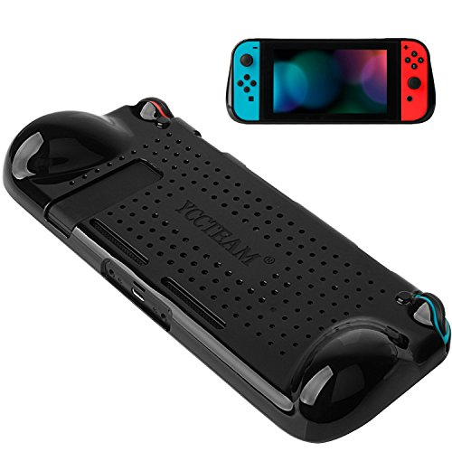 Protective Case for Nintendo Switch 2018,Grip Cover Case with Shock-Absorption and Anti-Scratch Design Soft & Comfortable TPU Case for Nintendo Switch Console (Black)
