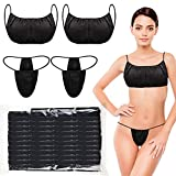 Yahenda Women Disposable Underwear and Women Disposable Panty Beauty Disposable Bra Women's Disposable Sunless Spray Tan Top Underwear for Woman, Individually Wrapped (Blue with White Tie)
