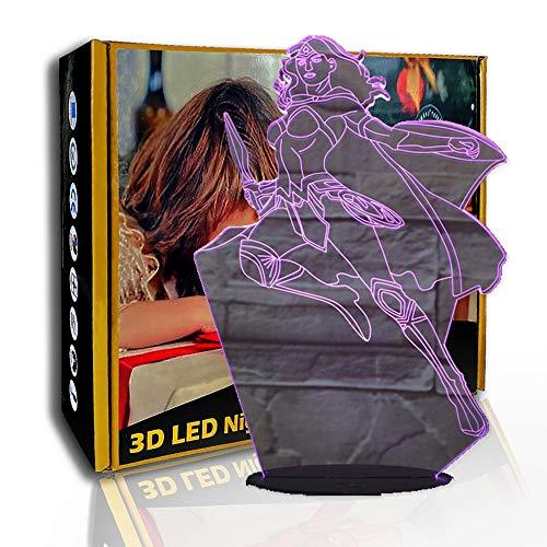 JINYI Luz de noche LED Wonder Woman, lámpara de ilusión 3D, luz de dormitorio, E- Base para despertador (7 colores), Iluminación de la habitación, Decoración moderna