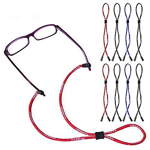 8 Stück Premium Brillenband & Sportbrillenband, Anti-Rutsch-Brille Kopfbandband,4 Colors verstellbar Securely Hals Schnur String für Sportbrillen, Sonnenbrillen für Sport und Outdoor